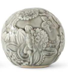 5.5 Inch Gray Ceramic Art Deco Style Tabletop Sphere