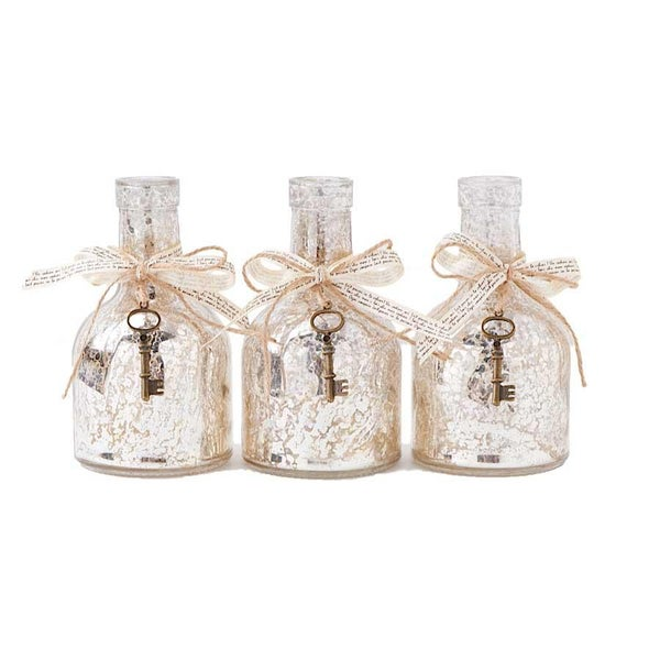 Mercury Glass Bottle w/Ribbon & Key Accent