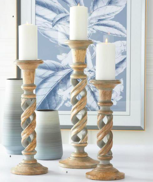 Md. Gray Washed Wood Spiral Cutout Candleholder
