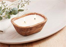 PETITE WOOD BOWL CANDLE-Brown