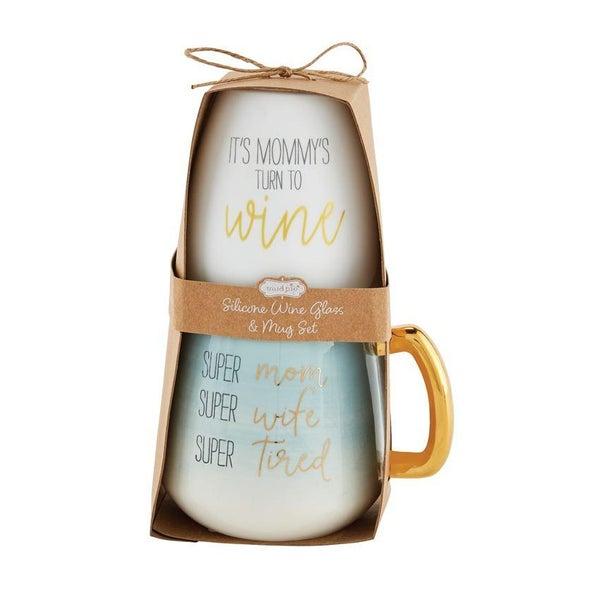 Blue Mom Wine Glass & Mug
