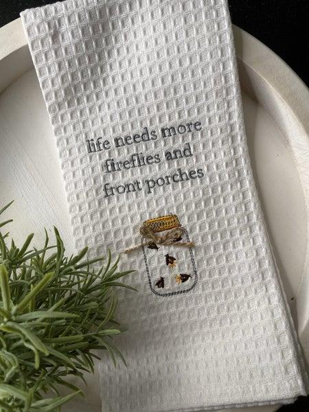 Fireflies Waffle Weave Towel