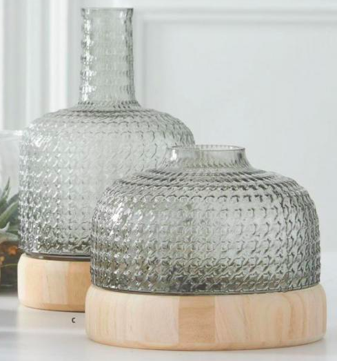 Dome Shape Textured Glass Vase w/Wood Bases