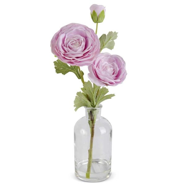 Pink Real Touch Triple Bloom Ranunculus in Glass Bottle