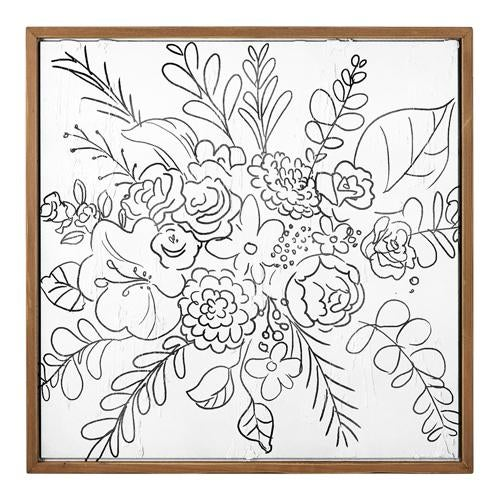 "24.75"" Wildflower Line Art Framed Textured Wood Print"