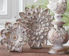 5.5 Inch White Wash Carved Resin Tabletop Flower