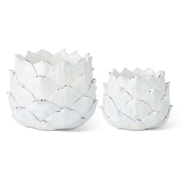 White Resin Artichoke Planters