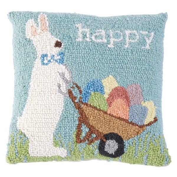 HAPPY BUNNY HOOKED WOOL PILLOW