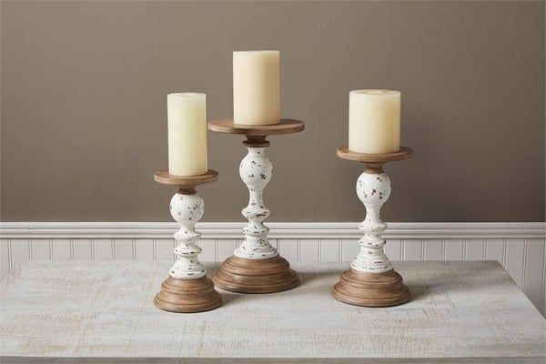 TWO-TONE RUSTIC CANDLESTICK