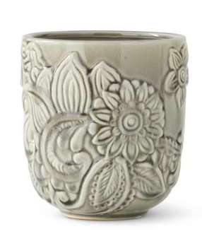 MD. Gray Ceramic Art Deco Style Pot