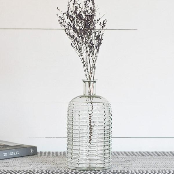 "10.25"" Clear Stripe Vase"