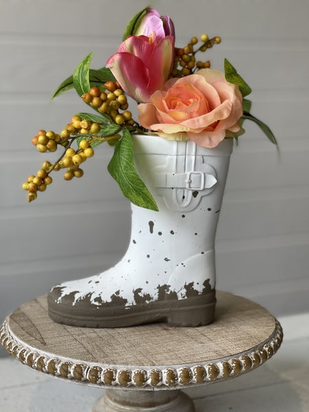 White Rain-boot Vase with Spring Flowers