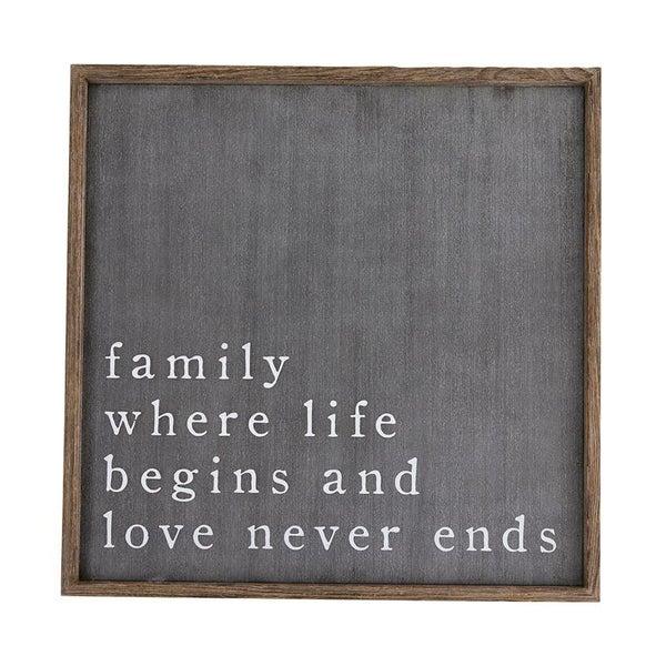 Family Black Plaque
