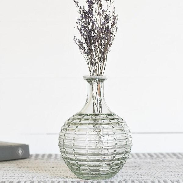 "6.75"" Clear Stripe Vase"