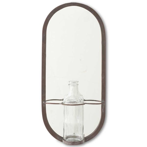 18.5 Inch Metal Frame Mirror w/Glass Bottle Holder