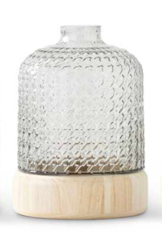 Tall Textured Glass Vase w/Wood Bases