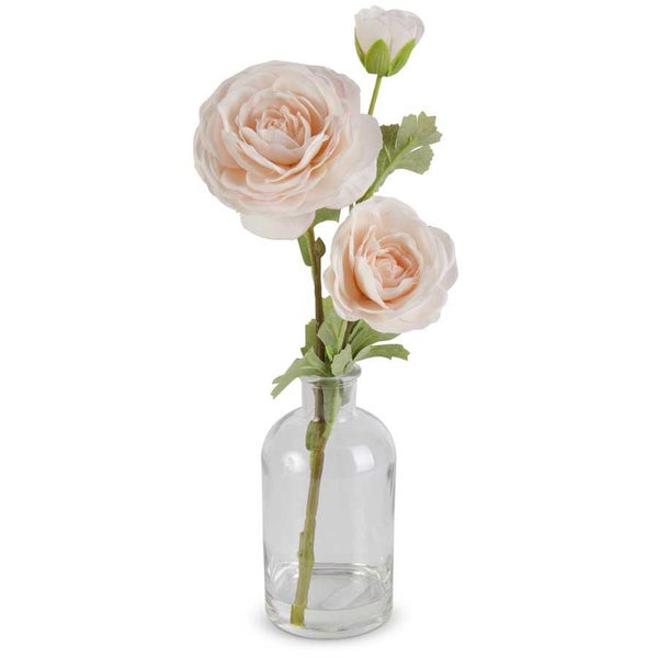Peach Real Touch Triple Bloom Ranunculus in Glass Bottle