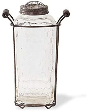 Metal Mesh Handled Holder w/Lidded Mason Jar