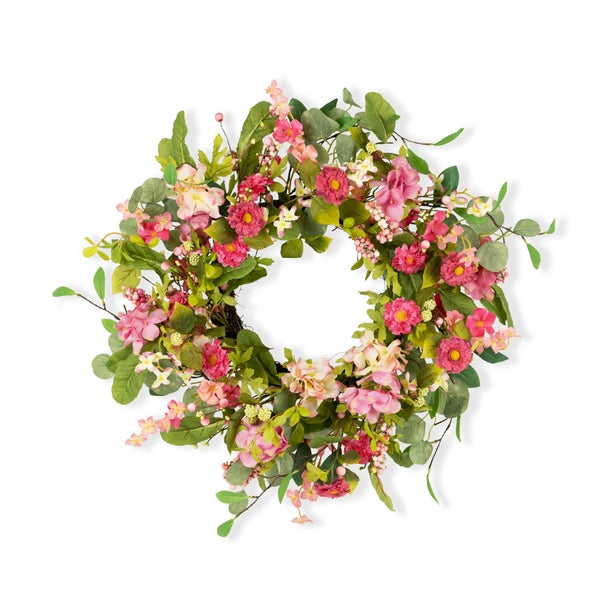 SPRING MIXED FLORAL WREATH