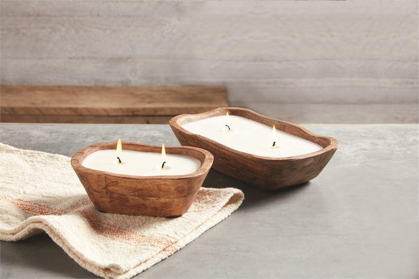 Brown Large Petite Wooden Candle