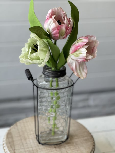 Honey Comb jar with Faux Tulips