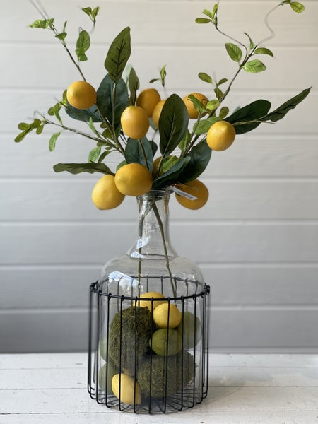 Pre-made Lemon Arrangement Glass Bottle With Black Metal Frame