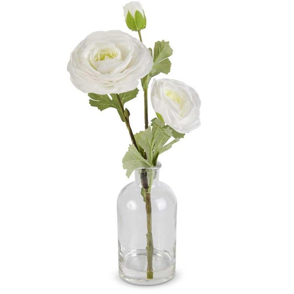 White Real Touch Triple Bloom Ranunculus in Glass Bottle