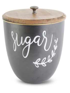 Black Metal w/White Script SUGAR Lidded Containers