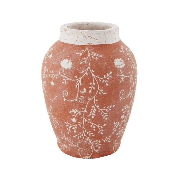 Large Floral Terracotta Vase