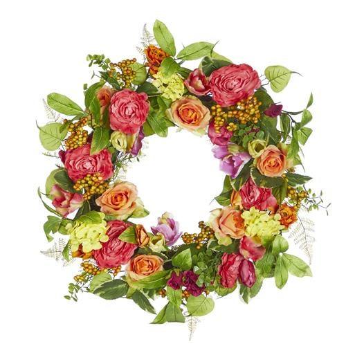"""28"""" Rose and Ranunculus Wreath"""