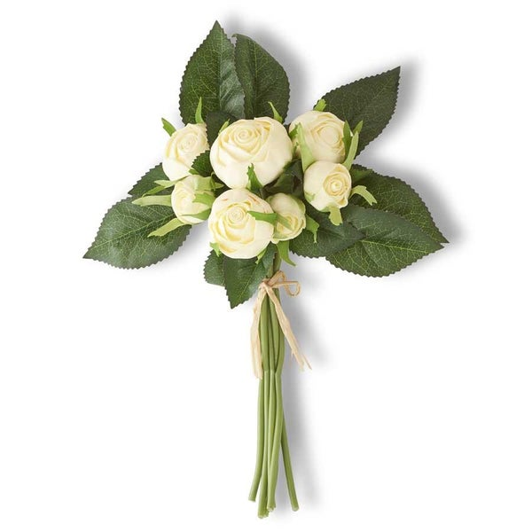 10 Inch White Real Touch Cabbage Rose Bundle (7 Stems)