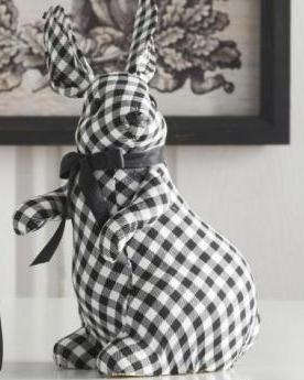 Standing Black & White Gingham Bunnies w/Black Bows
