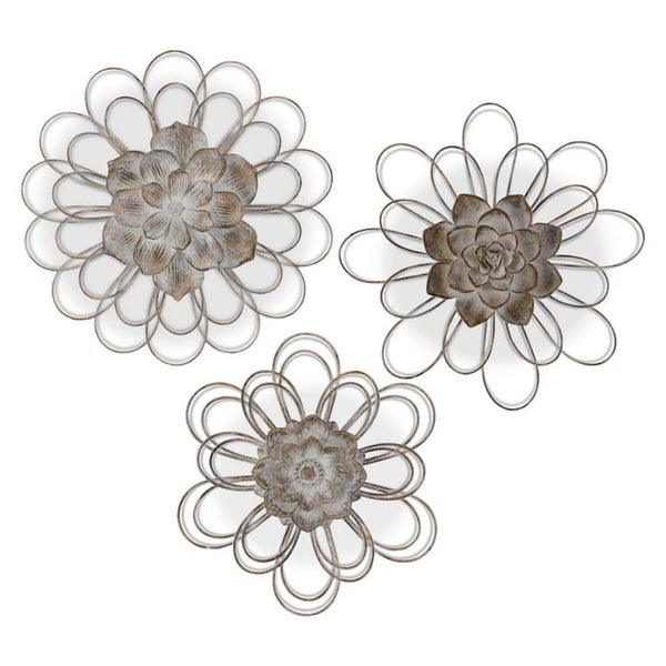 Gray Metal Wall Flowers w/Resin Centers