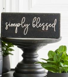 Black SIMPLY BLESSED Wood Sign