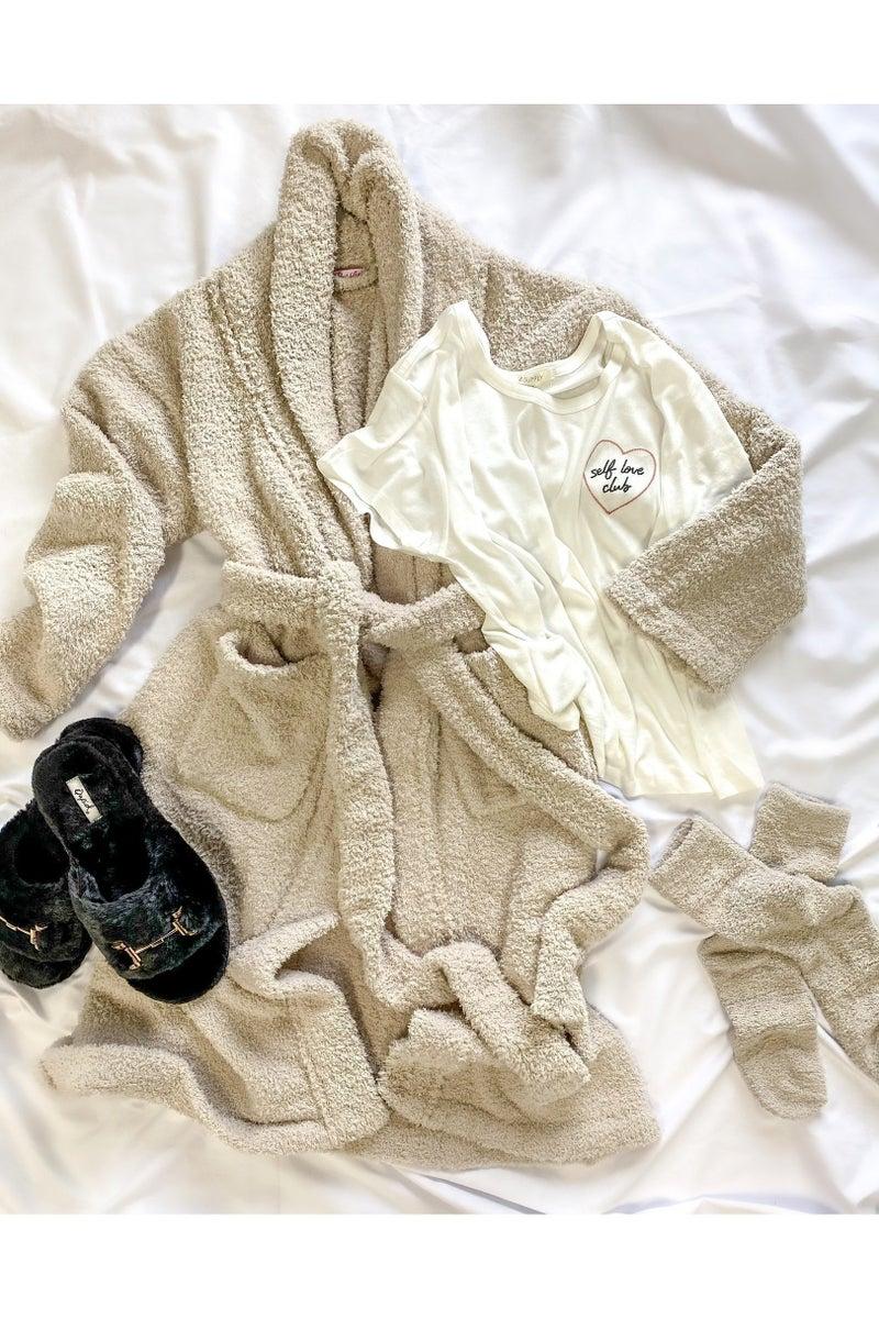 Treat Yourself Fuzzy Robe Beige