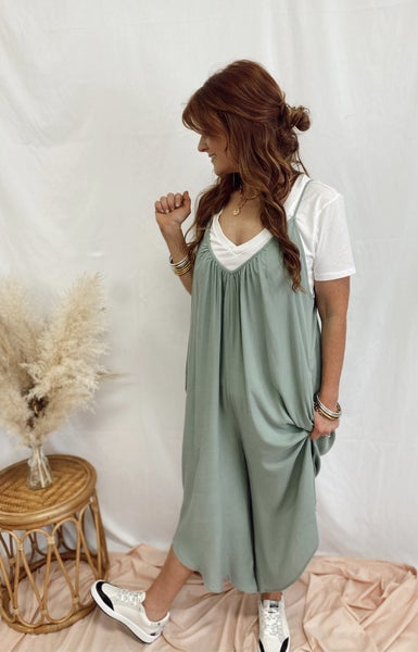 Backroad Tunes Jumpsuit in Sage