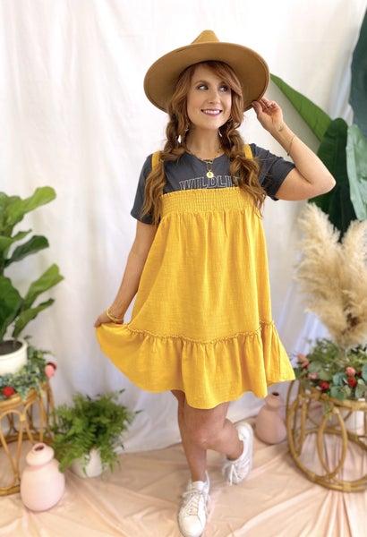 Criss Cross Dress Mustard
