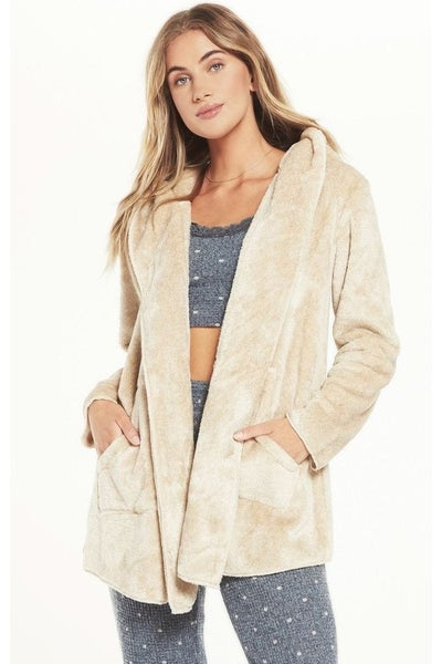 Z Supply Cozy Feels Plush Cardi in Birch