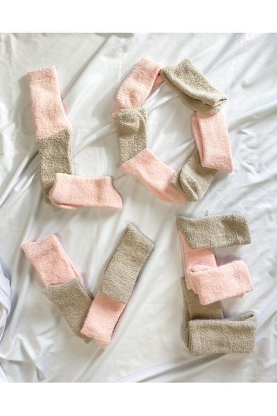 Let's Stay Home Fuzzy Socks Pink