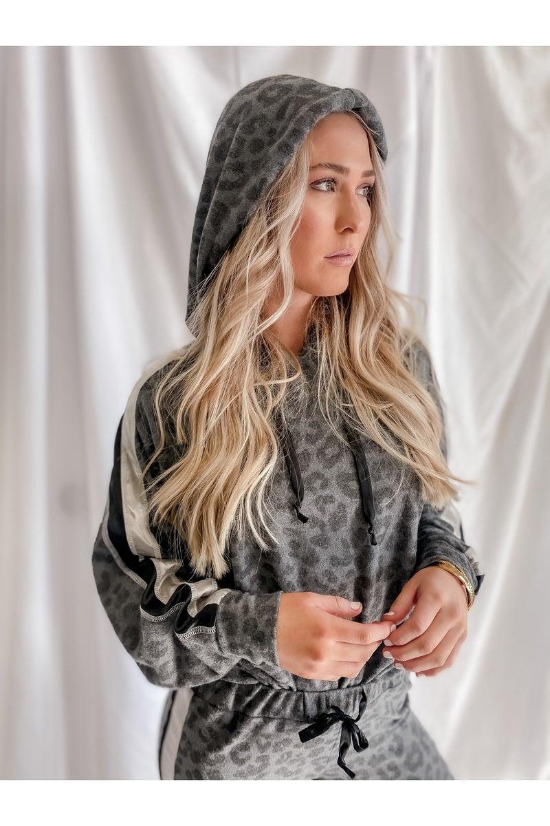 Grey Leopard Satin Trim Hoodie