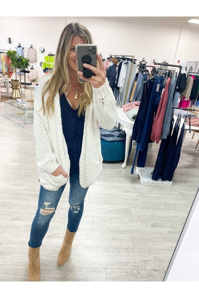Pushing On Cardigan Ivory