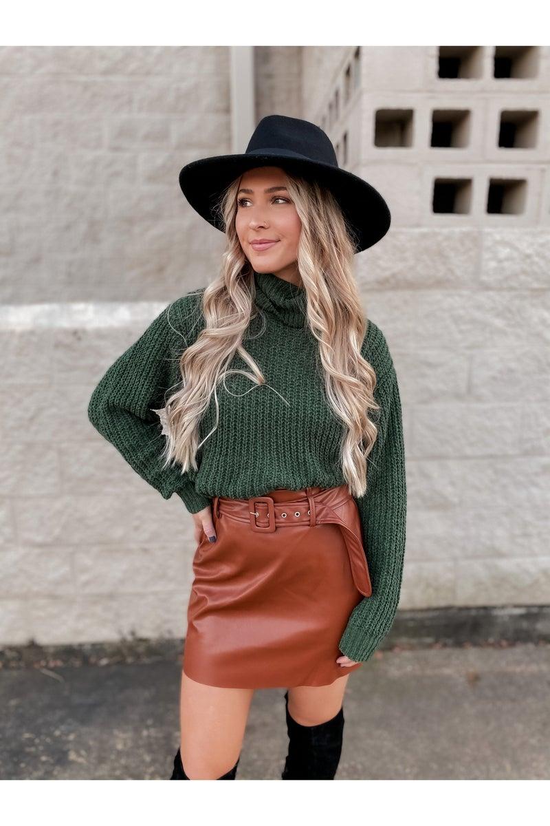 Cameo Leather Skirt