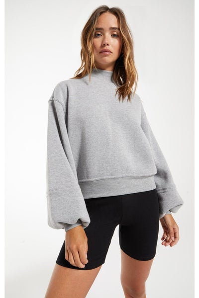 Skylar Mock Neck Pullover Heather Grey By Z Supply