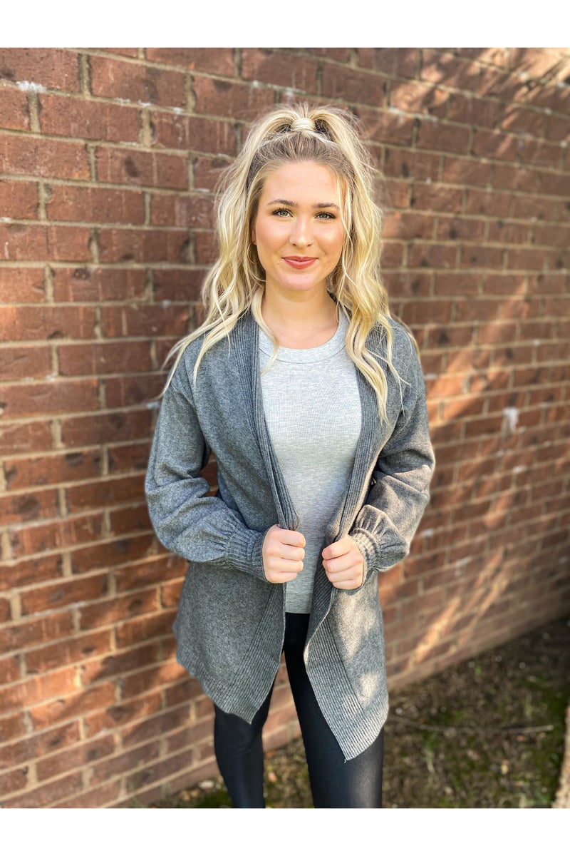 Ready To Love Me Cardi Charcoal