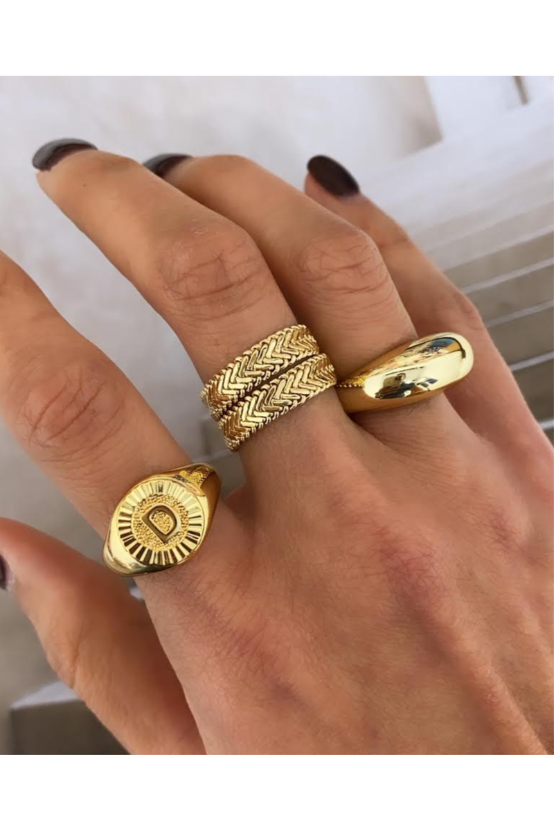 Bracha Initial Medallion Signet Ring