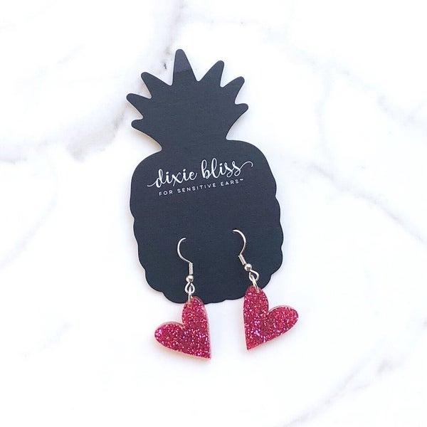 Dixie Bliss - Petite Heart Dangles in Raspberry