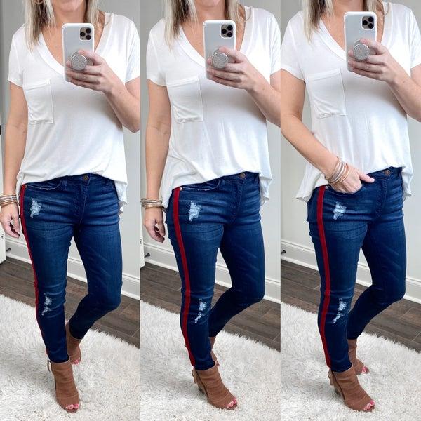 Red-Velvet Taped Skinny Jeans