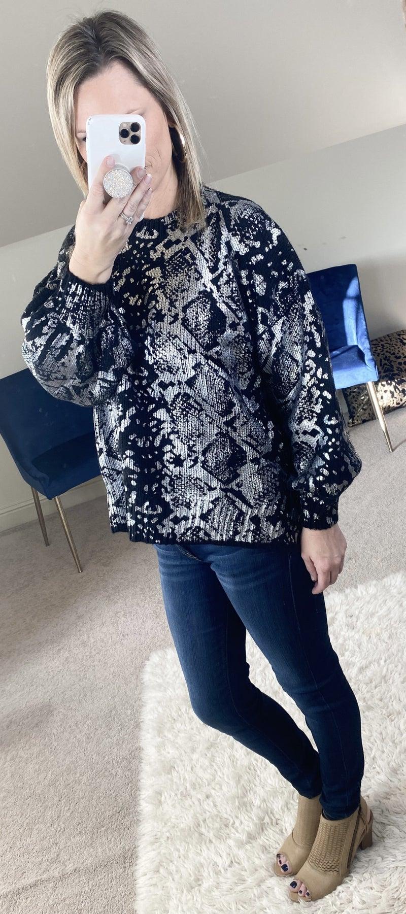 Animal Printed Sweater with Metallic Design