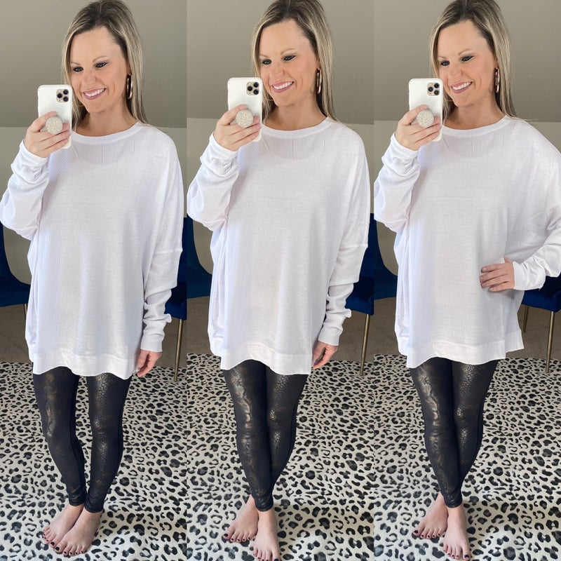 Waffle Ribbed Roundneck Pullover