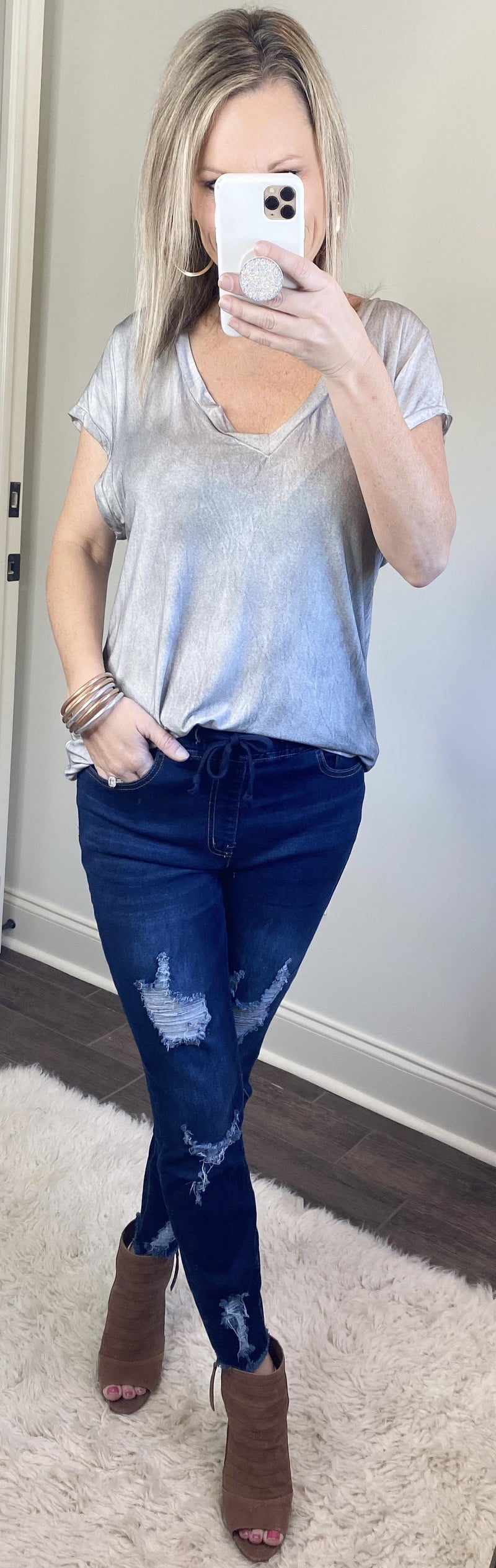Distressed Jogger Jeggings 2X and 3X
